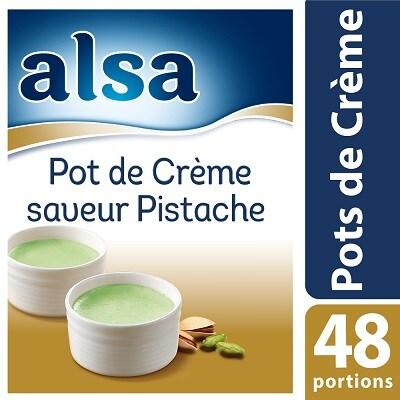 Alsa Entremets-Flan Parfum Pistache 830g 100 portions - Faites de chaque jour un régal avec les Pots de Crème Alsa !
