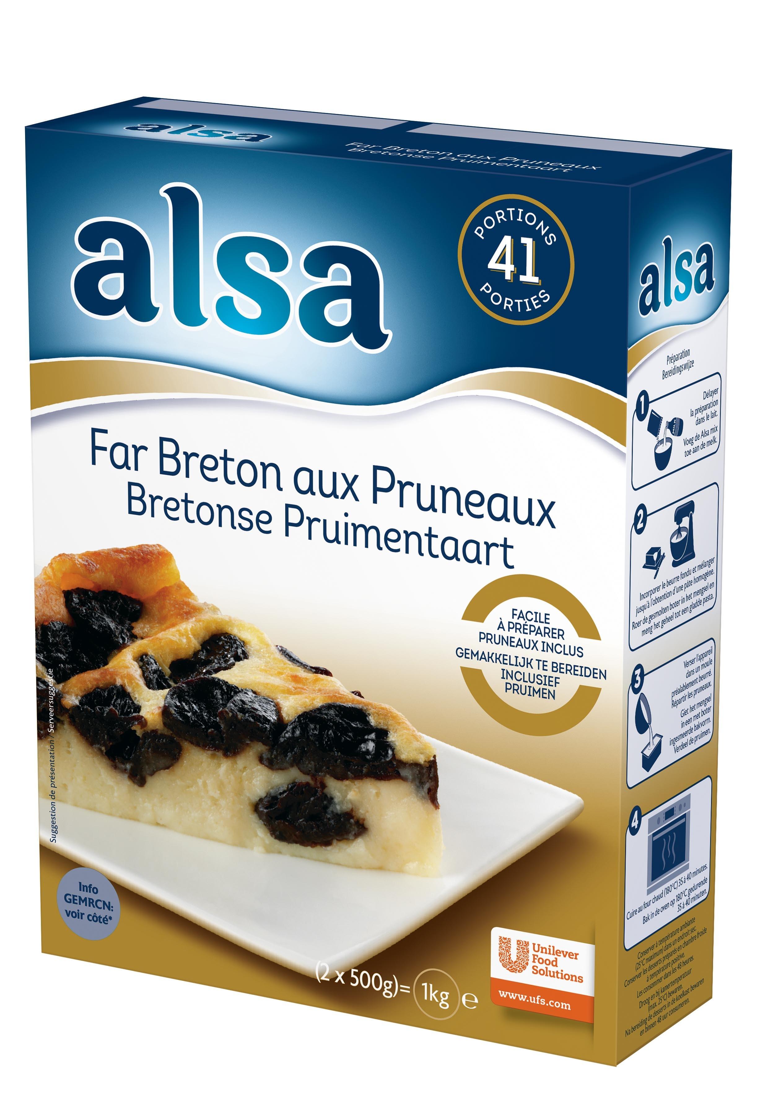Alsa Far Breton aux pruneaux 760g 41 portions - Faites de chaque jour un régal avec les Pots de Crème Alsa !