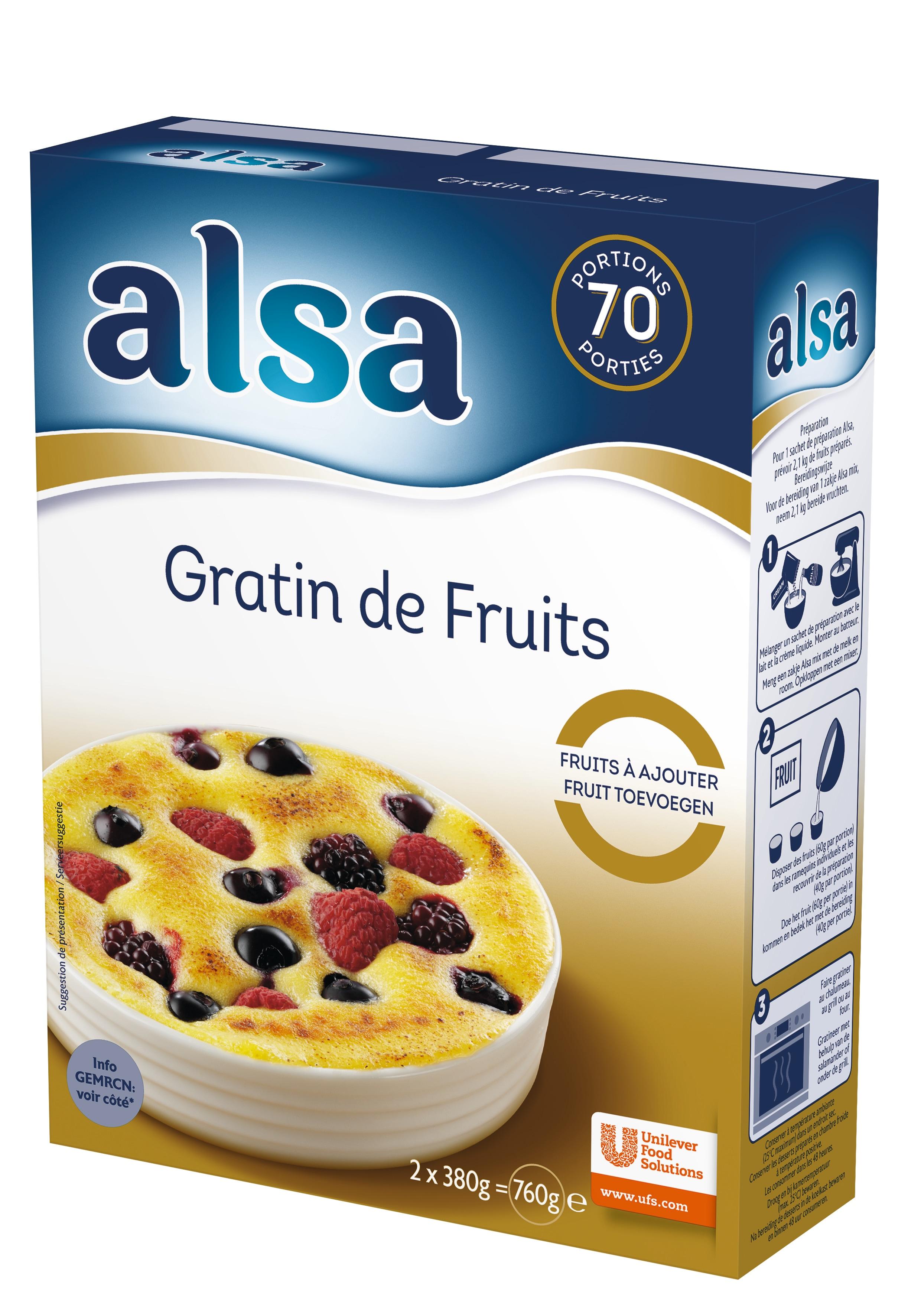 Alsa Gratin de Fruits 760g 70 portions - Faites de chaque jour un régal avec les Pots de Crème Alsa !