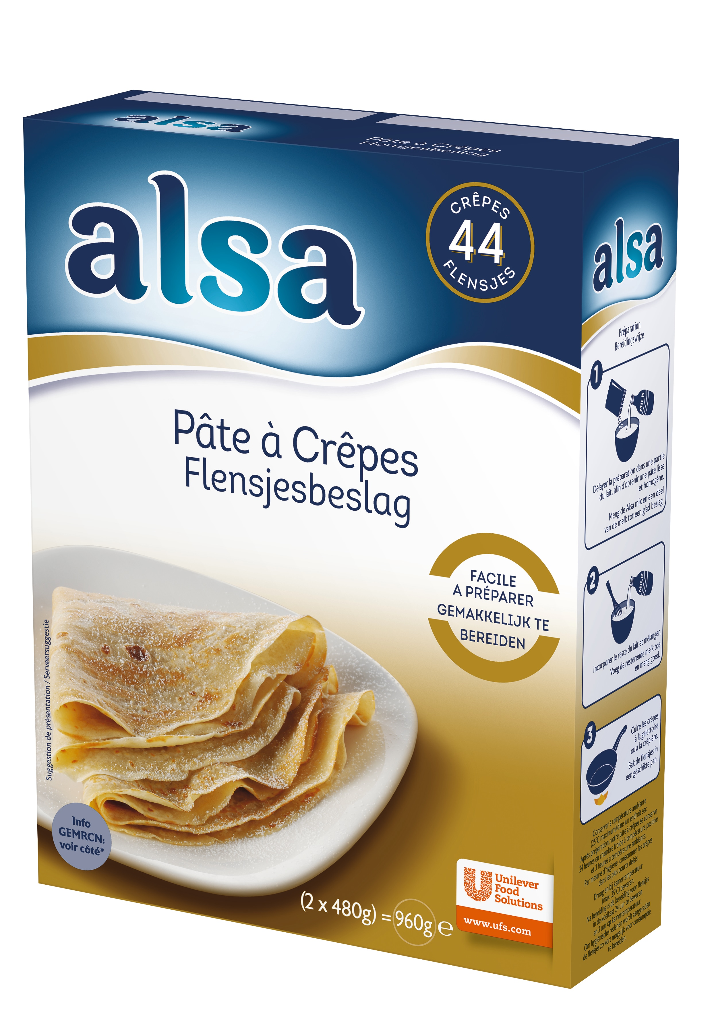 Alsa Pâte à Crêpes 960g 44 portions - Faites de chaque jour un régal avec les desserts Alsa !