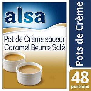 Alsa Pot de Crème Saveur Caramel au Beurre Salé 720g 48 portions - Faites de chaque jour un régal avec les Pots de crème Alsa !