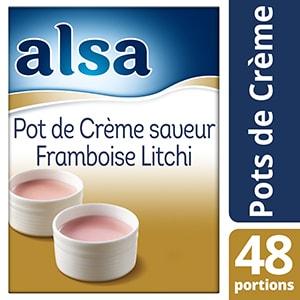 Alsa Pot de Crème Saveur Framboise Litchi 720g 48 portions - Faites de chaque jour un régal avec les Pots de crème Alsa !