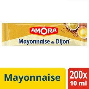 Amora Mayonnaise de Dijon - Carton de 200 dosettes de 10ml - élaborée à partir d'ingrédients de qualité.