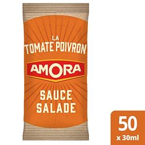 Amora Sauce salade Tomate Poivron - Carton de 50 dosettes de 30 ml - La garantie du bon goût des sauces salades Amora grâce à l'utilisation d'ingrédients de qualité, sur place ou à emporter ! Une gamme de 3 recettes originales en portions de 30 ml, une seule suffit pour assaisonner une salade individuelle.