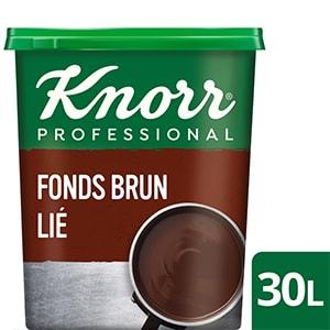 Knorr Fonds Brun Lié Déshydraté Boîte 750g  jusqu'à 30L - Le Fonds Brun Lié Knorr apporte une saveur intense de boeuf à votre plat.
