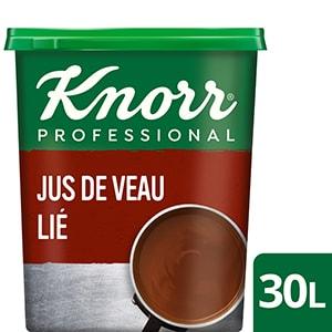 Knorr Jus de Veau Lié Déshydraté Boîte 750g  jusqu'à 30L - Le Jus de Veau Lié est la base idéale pour révéler toutes ses saveurs authentiques !