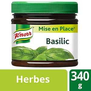Knorr Mise en place Basilic 340g - Les Mise en Place Knorr sont conçues avec des produits de qualité, qui restituent tout le bouquet aromatique des herbes fraiches.