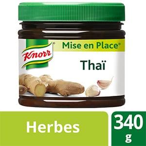 Knorr Mise en place Thaï 340g - Les Mise en Place Knorr sont conçues avec des produits de qualité, qui restituent tout le bouquet aromatique des herbes fraiches.