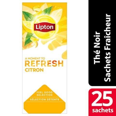 Lipton Feel Good Selection Thé Noir Citron 25 Sachets Fraîcheur - Lipton sachets fraîcheur, une gamme unique pour chaque moment de la journée.