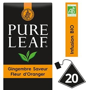 Pure Leaf BIO Infusion Gingembre saveur Fleur d'Oranger 20 sachets pyramides -