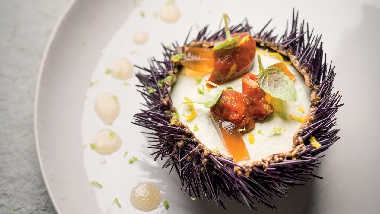 Oursins, bavaroise de fenouil, gelée de crustacés – Recette